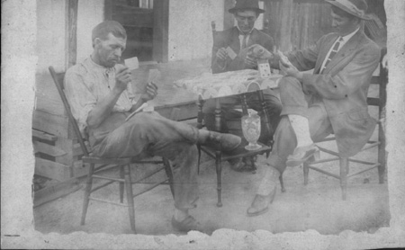 Vinson, Emberry, and Willie Self playing cards