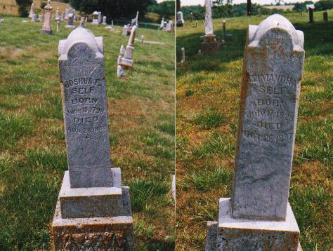 Gravestones of Joshua F. Self and Trymandia (Rothgeb) Self