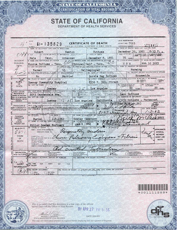 Robert Newton Bottoms Death Certificate