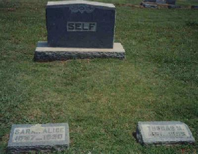 Tombstone of Thomas M. and Sarah A. (Stephens) Self