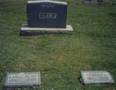 Tombstone of Thomas M. and Sarah A. (Stephens) Self