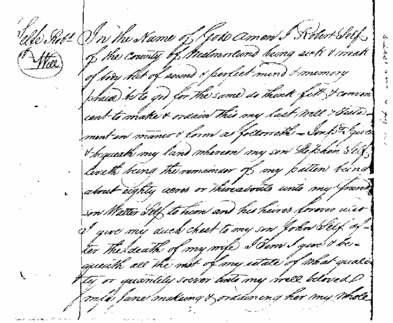 "First part of the Will of ""Olde"" Robert Selfe"