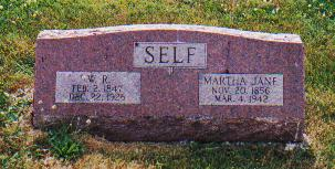 Gravestone of William R. and Martha Jane Self